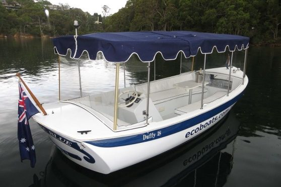Duffy 18 electric boat exterior on Hawkesbury river