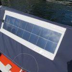 Flexible solar panel on open racing yacht
