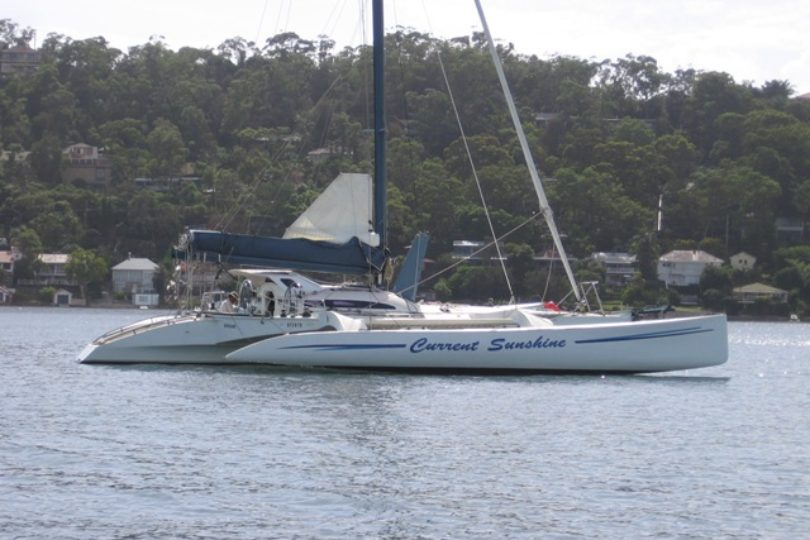 Electric outboard torqeedo cruise 4.0 on a fibreglass trimaran