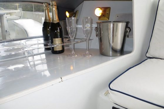 Duffy 18 electric boat interior on Hawkesbury river