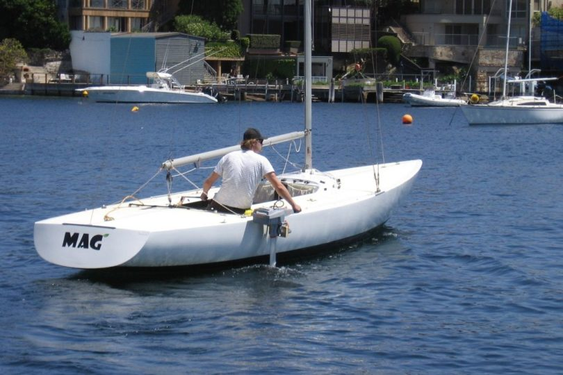 Torqeedo Travel 1003 on a fiberglass Etchells